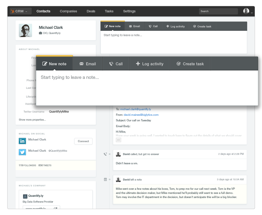 Track contact interactions in your crm
