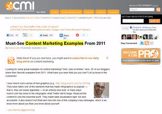 Content Marketing Wisdom: CMI 2011