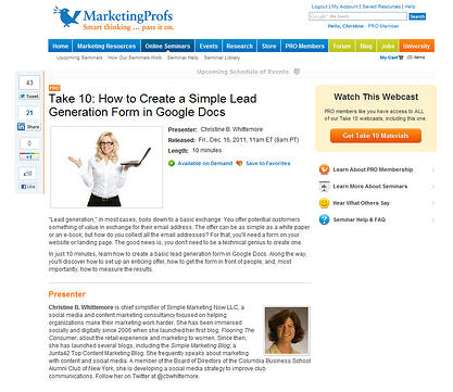 MarketingProfs Take 10: Create Simple Lead Generation Forms to get more leads