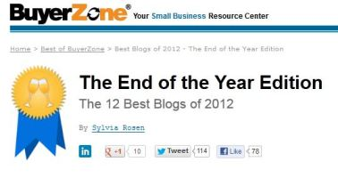 BuyerZone Best Blogs 2012