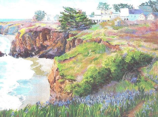 Pastel of Mendocino by Suzi Long