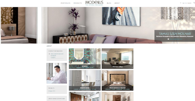 Within Portfolios, Explore Specific Designers on Modenus.com 3.0