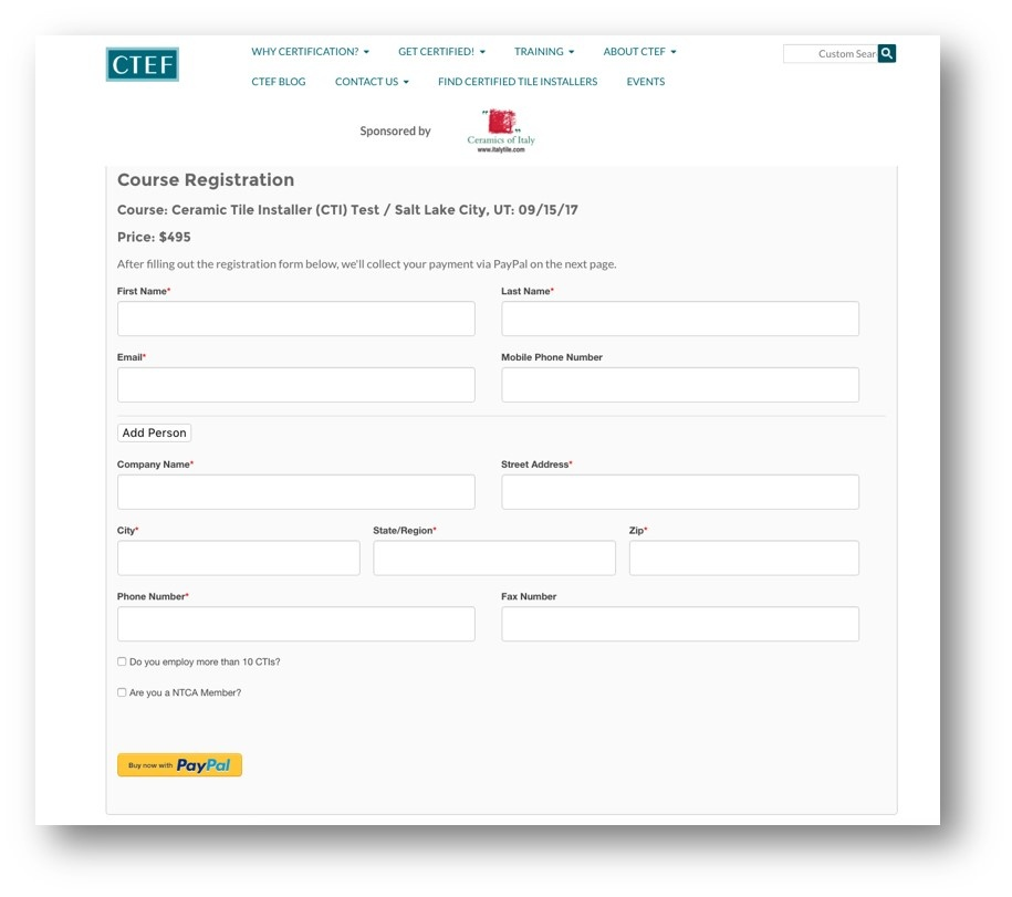 Ceramic Tile Education Foundation uses DepositFix to accept payments through PayPal for registrations