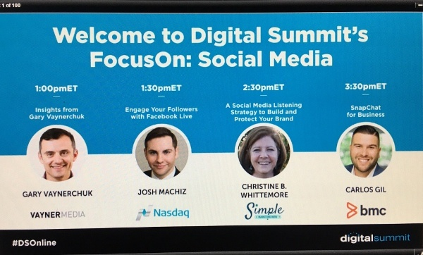 "CB Whittemore presented ""A Social Media Listening Strategy to Build & Protect Your Brand"" during the DigitalSummit FocusOn: Social Event virtual event"